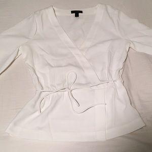 J Crew White Sz 4 Drapey Crepe Faux-Wrap Top